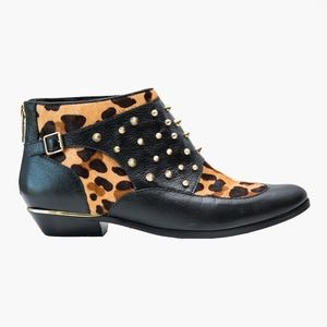 SCHUTZ – Leopard Black Leather Studded Ankle Boots